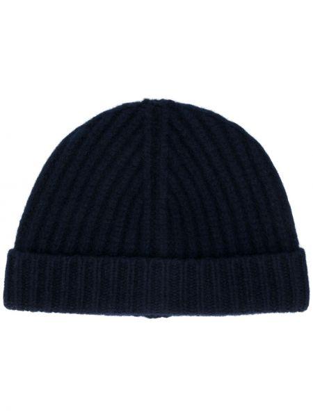 Синяя шапка бини из овчины в рубчик с отворотом Christian Wijnants