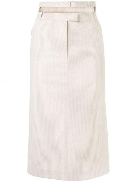 Beżowa spódnica midi z wysokim stanem z paskiem Pushbutton