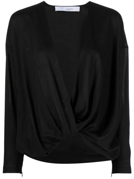 Черная блузка оверсайз с вырезом Iro