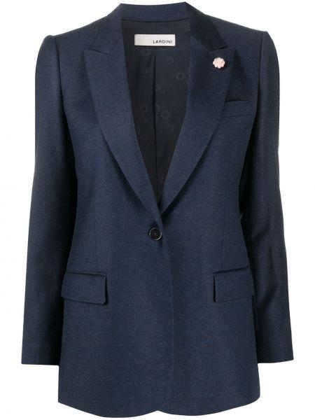 С рукавами шерстяной синий пиджак с карманами Lardini