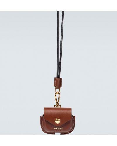 Skórzany brązowy etui na klucze wytłoczony prążkowany Tom Ford