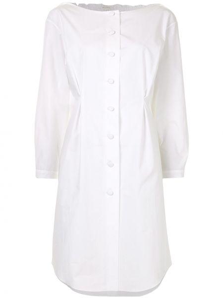 Белое платье на пуговицах с манжетами с круглым вырезом Delpozo