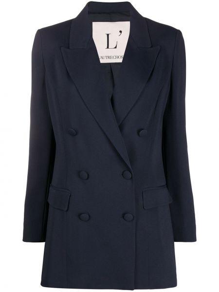 Синий пиджак двубортный с карманами L'autre Chose