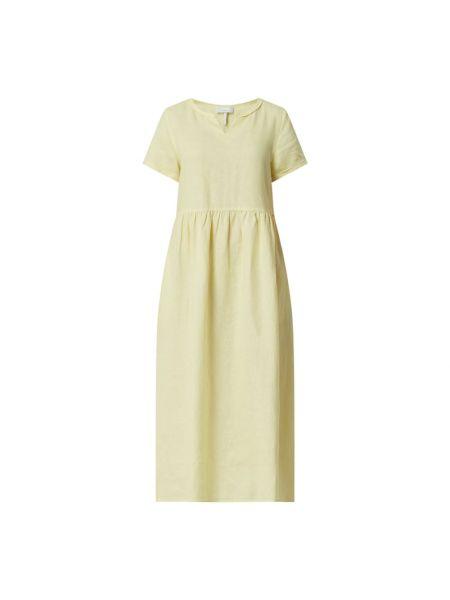 Lniana sukienka midi - żółta Cinque