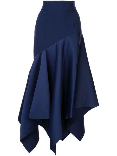 Асимметричная с завышенной талией синяя юбка макси Solace London