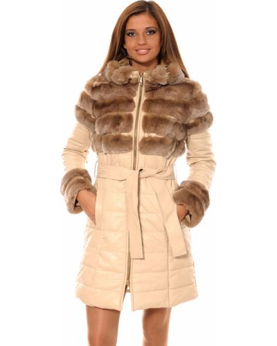 Кожаное пальто - бежевое Mor`a
