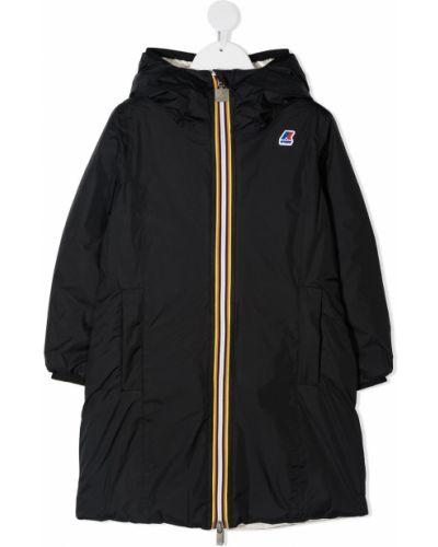 Черное пуховое пальто классическое с капюшоном K Way Kids