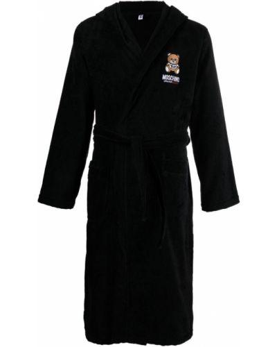 Długi szlafrok z kapturem - czarny Moschino