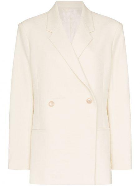 Хлопковый пиджак двубортный с карманами Toteme