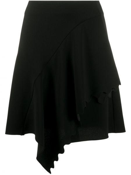 Czarna spódnica mini z wysokim stanem kaskadowa Chloe