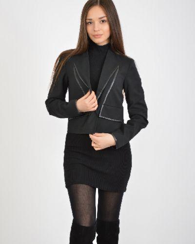 Черный классический пиджак из вискозы с декоративной отделкой Troll