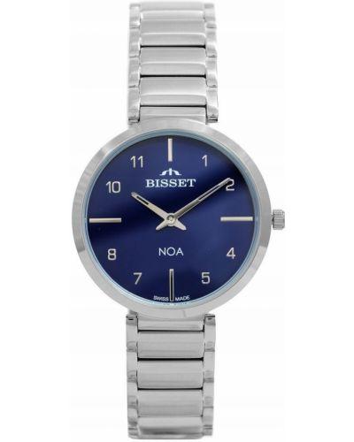 Klasyczny szwajcarski zegarek srebrny granatowy Bisset