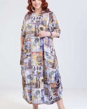 Повседневное с рукавами летнее платье с карманами круглое прима линия