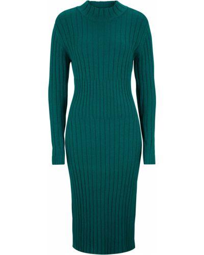 Вязаное платье миди - зеленое Bonprix
