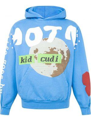 Niebieska bluza długa z kapturem z długimi rękawami Kid Cudi