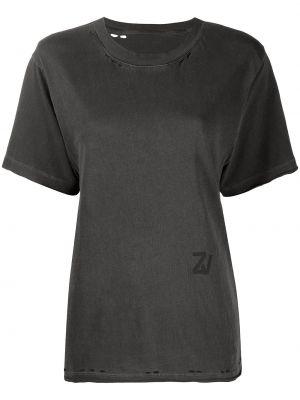 Хлопковая серая с рукавами футболка Zadig&voltaire