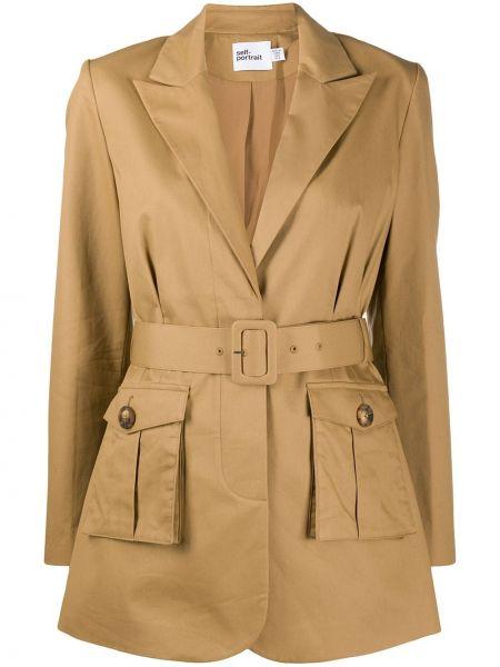 Удлиненный пиджак оверсайз с карманами с воротником Self-portrait