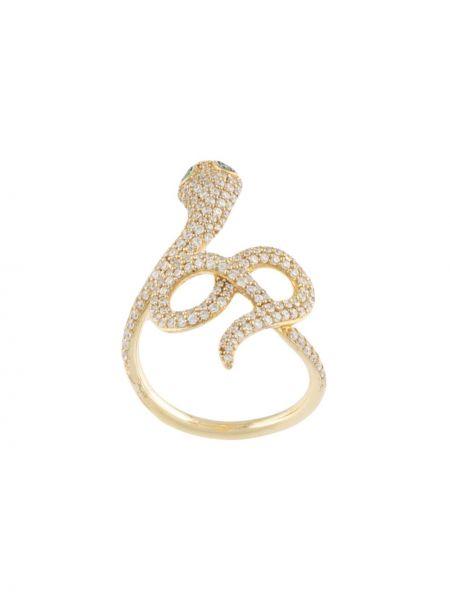 Золотистое с цирконием кольцо золотое Apm Monaco