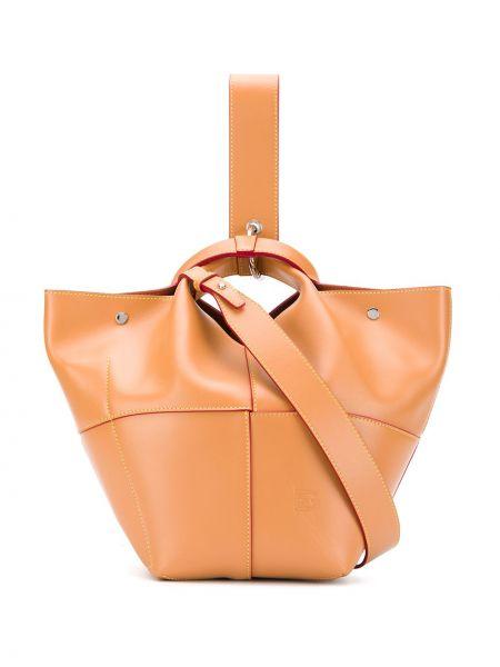 Кожаная коричневая кожаная сумка круглая на кнопках Elena Ghisellini