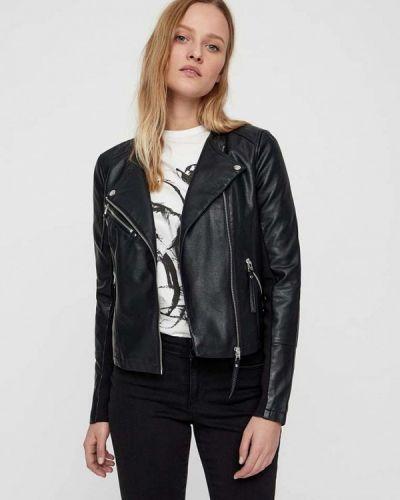 Кожаная куртка черная весенняя Vero Moda