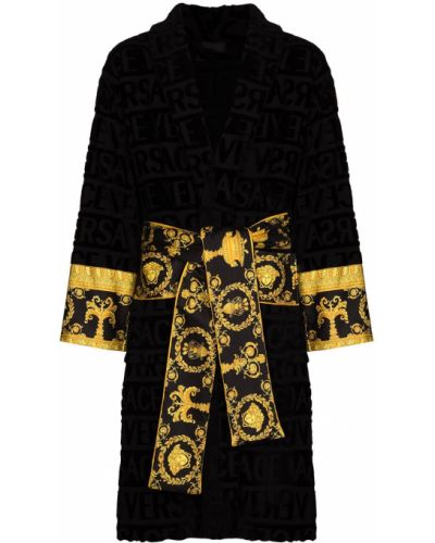 Szlafrok bawełniany - czarny Versace