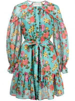 Синее платье в цветочный принт Saloni