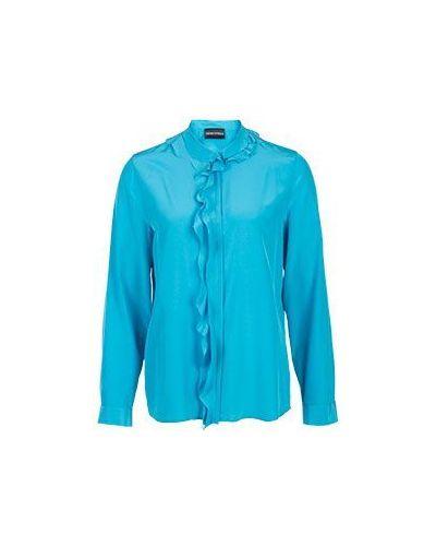 Голубая блузка с жабо Emporio Armani