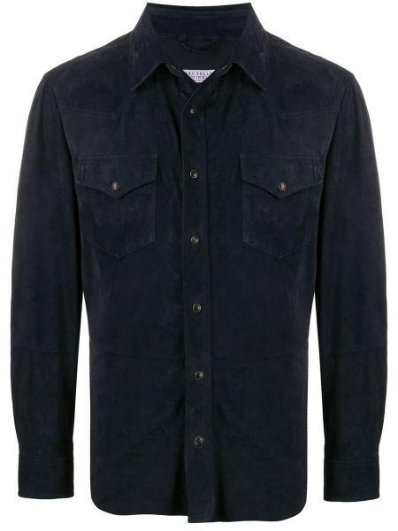Синяя кожаная рубашка с воротником Brunello Cucinelli