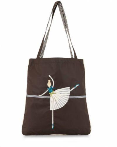 Нейлоновая коричневая сумка на плечо с вышивкой Familiar