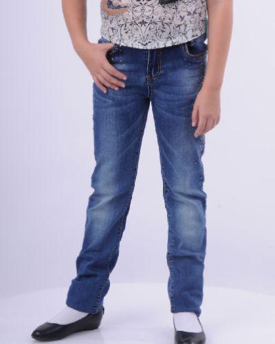 Прямые джинсы со стразами стрейч Vitacci
