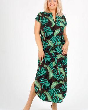 Платье с поясом из штапеля с V-образным вырезом M.alina