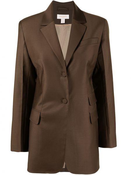 Шерстяной однобортный коричневый удлиненный пиджак Matériel