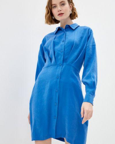 Синее платье-рубашка Adl