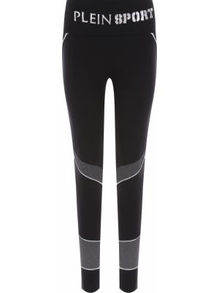 Черные спортивные леггинсы эластичные со вставками Plein Sport