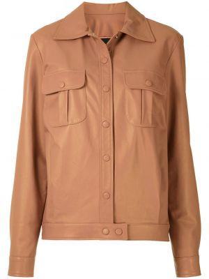 Кожаная куртка на пуговицах - розовая Olympiah