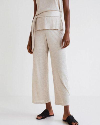 Бежевые брюки прямые Mango