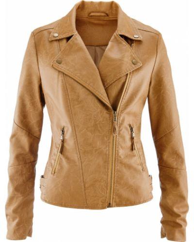 Кожаная куртка с карманами на молнии Bonprix