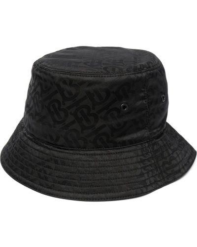 Czarny kapelusz bawełniany z printem Burberry