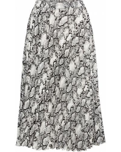 Плиссированная юбка леопардовая серая Bonprix