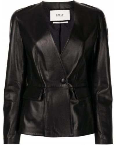 Черный кожаный удлиненный пиджак с баской Bally
