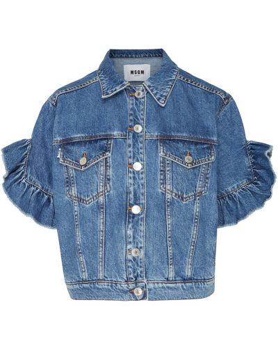 Джинсовая куртка хлопковая на пуговицах Msgm