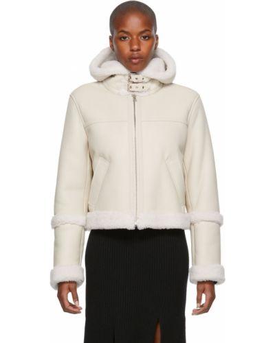 Белая куртка длинная Yves Salomon Meteo