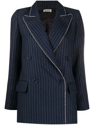 С рукавами синяя тонкая куртка с лацканами Zadig&voltaire