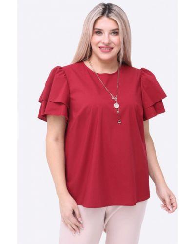 Бордовая блузка с коротким рукавом с короткими рукавами Luxury Plus