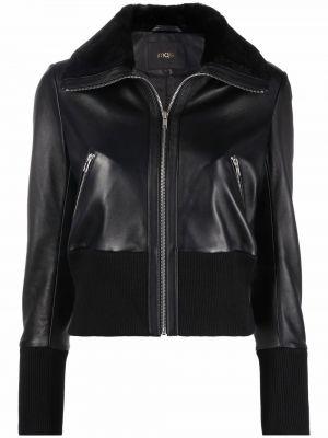 Кожаная куртка на молнии - черная Maje