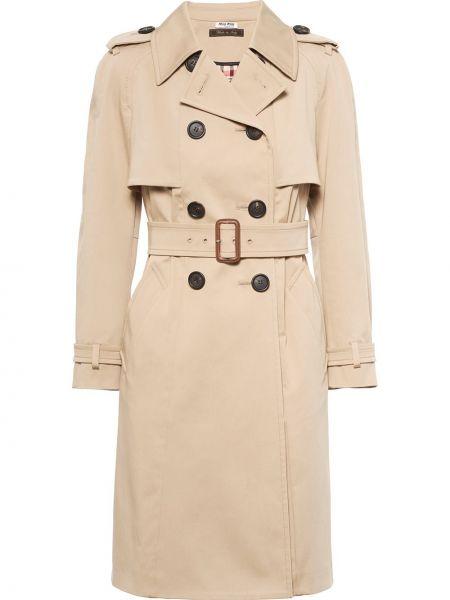 Пальто двубортное с поясом на пуговицах Miu Miu