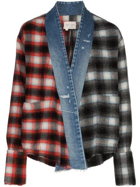 Czarna koszula jeansowa bawełniana z długimi rękawami Greg Lauren