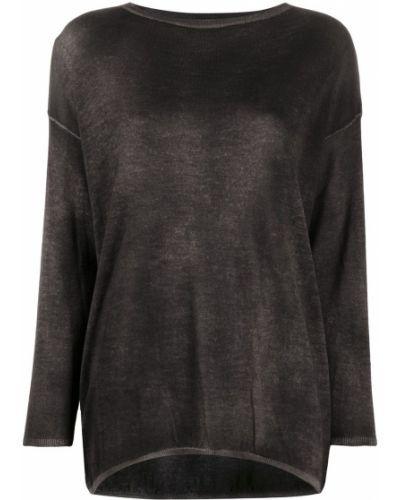 Шелковый черный джемпер свободного кроя с круглым вырезом Avant Toi