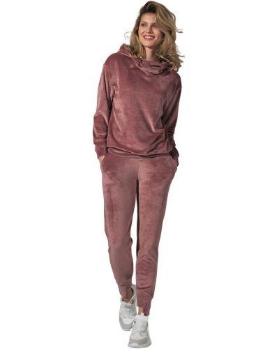 Różowe spodnie welurowe Figl