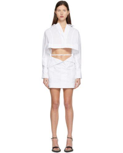 Белое платье макси с длинными рукавами с поясом Jacquemus